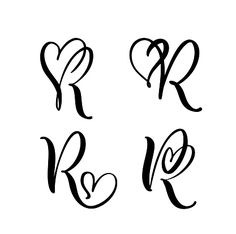 Vector Set of Vintage floral letter monogram R. Vector Set of Vintage floral letter monogram R. Hand drawn heart sign for page d. Letter R Tattoo, Monogram Tattoo, Initial Tattoo, Monogram Logo, Neue Tattoos, Music Tattoos, Quote Tattoos, Floral Letters, Monogram Letters