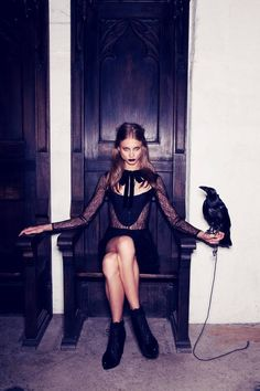 """Interview With a Vampire – American label For Love & Lemons taps leading model Anna Selezneva for its fall 2013 campaign. The images highlight the gothic inspiration of the fall season with a shoot appropriately titled, """"Interview With a Vampire"""". In the set, the Russian-born beauty travels from library to stony facade in dark looks …"""