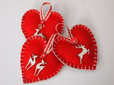 Christmas deers and stag felt heart decorations, set of three vintage style