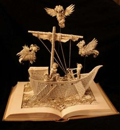 """The Odyssey"" book sculpture (artist: Jodi Harvey-Brown) Folded Book Art, Paper Book, Book Folding, Paper Art, Cut Paper, Book Sculpture, Paper Sculptures, Altered Book Art, Book Projects"