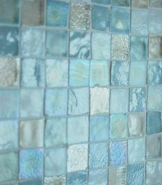 sea glass tile back splash... Looks just like the beach