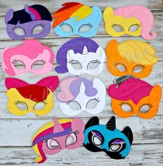 My little pony mask / party favors by MyWonderlandBoutique on Etsy