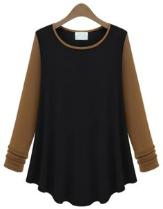 Black Contrast Long Sleeve Ruffle Loose T-Shirt EUR€15.15