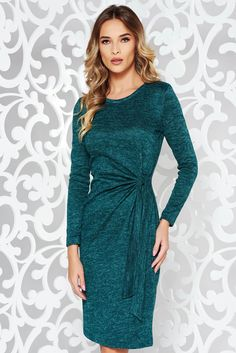 StarShinerS green dress daily knitted fabric with tented cut long sleeved, without clothing, long sleeves, soft fabric, knitted fabric, slightly elastic fabric, back zipper fastening, tented cut