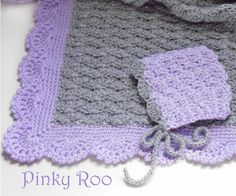 Crochet baby blanket and baby bonnet gray and lilac by PinkyRoo