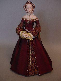 JANE SEYMOUR | by Debbie DP Medieval Dress, Katharina Von Aragon, Tudor Fashion, Renaissance Fashion, Jane Seymour, Doll Costume, Miniature Dolls, Dollhouse Dolls, Historical Clothing