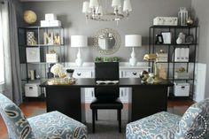 Turning a Dining Room into an Office: Love the shelving. Possibly DIY table with file cabinets painted with chalkboard paint and. But without  chairs in front. Could add a diy spray painted ugly brass chandelier and diy painted chest!!! This is the exact thing is need for my unused dining room!