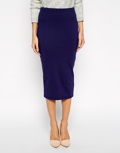 ASOS Midi Pencil Skirt in Navy Jersey, $33