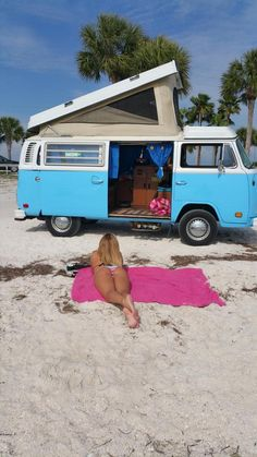 chillin' at florida beach - blue VW Bus ☮ pinned by https://www.soundroyalties.com/