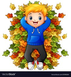 Happy little boy playing with autumn leaves Vector Image Math For Kids, Fun Activities For Kids, Autumn Activities, Pumpkin Art, Leaves Vector, Embroidery Patterns Free, Boys Playing, Beautiful Girl Image, Colouring Pages