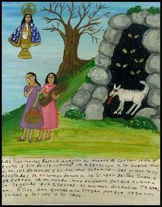 Mexican Exvoto retablo ex voto The Guardian demon's Cave