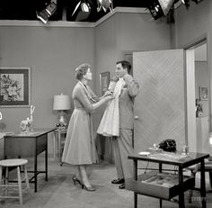 "The Danny Thomas Show: Danny Thomas and Jean Hagen in 1957 rehearsing a scene for their TV show. Blurry photo by Robert Vose for the Look magazine article ""Danny Thomas: He Has a Wonderful World All of His Own."" Click to view full size."
