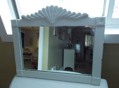 Carved Wooden Frame Shabby Chic Painted Mirror by ancientofdaze