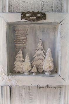 Handmade Christmas Wall Decoration Winter White Scene Shadowbox Vintage Shadow Box White Christmas Shabby White Decor Bottle Brush Tree christmas decorations vintage style sheet music Your place to buy and sell all things handmade Tiny Christmas Trees, Christmas Shadow Boxes, Noel Christmas, Christmas Balls, Christmas Wreaths, Christmas Ornaments, Xmas, Christmas Ideas, Vintage White Christmas