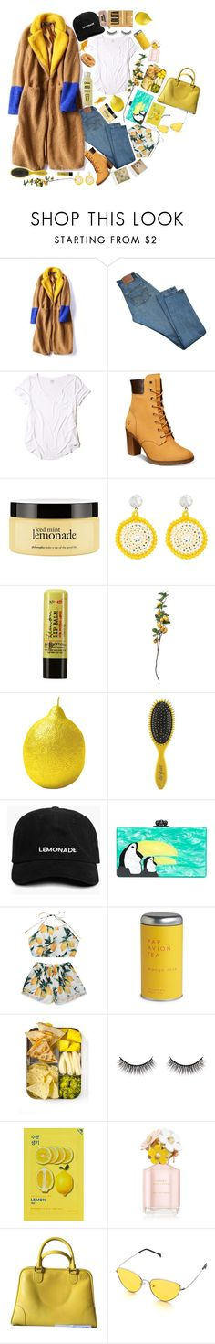 """""""when life gives you lemons"""" by realshannon ❤ liked on Polyvore featuring Levi's, Hollister Co., Timberland, philosophy, Venessa Arizaga, C.O. Bigelow, Bitossi, Drybar, Edie Parker and Polaroid"""