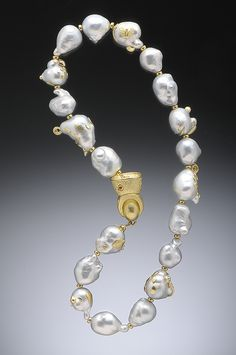 Jumbo White Baroque South Seas Pearl Necklace, Pearls Studded in 18K and…
