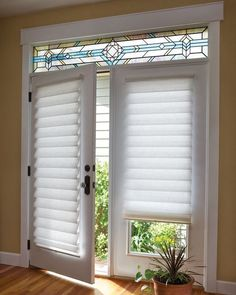 Blinds for French Doors \u2013A way to secure and beautify your home | Drapery Room & Roman shade on French door with Stained Glass | French Doors ... Pezcame.Com