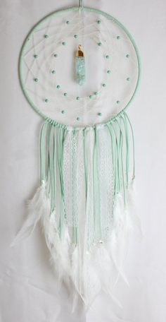 Large Mint Light Green Dream Catcher with Howlite Beads, a Glass & Gold Pendant, White Lace, and White Feathers