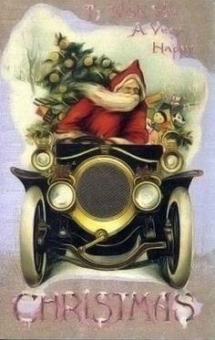kerstman in oldtimer
