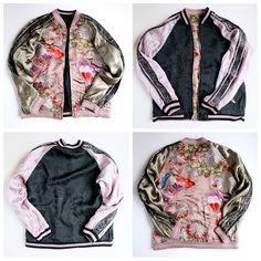 Japan SCRIPT Hanatabi Gakudan Butterfly Chocho Flower Souvenir Embroidered Sukajan Jacket - Japan Lover Me Store