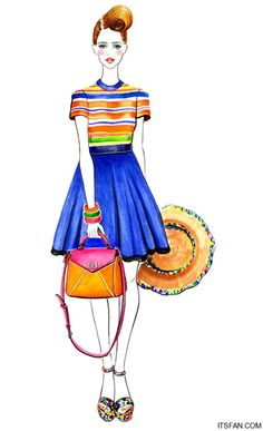 retro Fashion Illustration, designed by Sunny Gu #fashion #illustration Colourful and lovely for the summer ;)