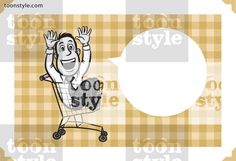 Greeting card with businessman riding in a shopping cart – personalize your card with a custom text