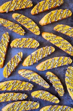 Skip the slice in favor of an easy recipe for crunchy pumpkin pie biscotti drizzled with chocolate and topped with chopped pumpkin seeds. Just a Taste Thanksgiving Recipes, Fall Recipes, Holiday Recipes, Top Recipes, Sweet Recipes, Pumpkin Recipes, Cookie Recipes, Dessert Recipes, Baking Recipes