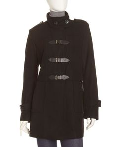 Buckle-Front+Coat,+Black+by+Neiman+Marcus+at+Last+Call+by+Neiman+Marcus.