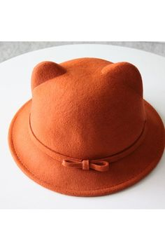 Cat Ear Bowler with Bowknot $30.00