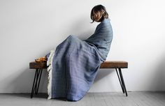Cotton Herringbone Blanket (Navy) - Kaufmann Mercantile -★- #fallfavoritesKM