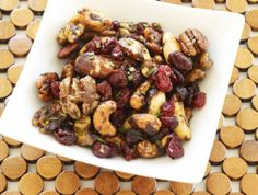 Appetizer: Sweet & Spicy Glazed Nuts with Cranberries and Rosemary Recipe