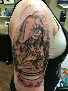 First session of my witchy tattoo. Next session is shading and adding some bright colors. #witch #tattoo #stevienicks #fleetwoodmac #original #witchcraft