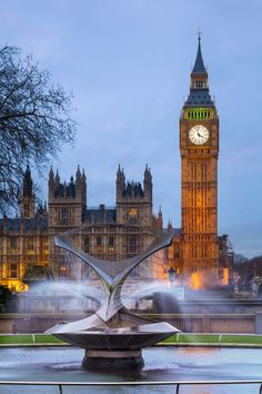 Big Ben and Fountain, London, England