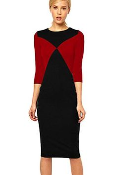 Red Black Patchwork Pencil Midi Dress ChicLike.com #Red