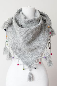 Gray Scarf Tassel Scarf Knit Scarf Triangle Scarf Women by Oxoo
