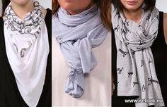 Как можно носить шарфы на пальто