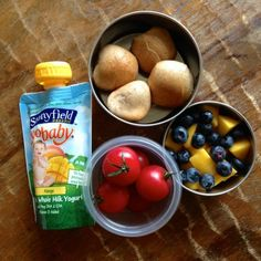 Stonyfield YoBaby pouch, bagel bites with cream cheese, cherry tomatoes, blueberries & mangoes. Healthy School Lunch Ideas - Eating Made Easy