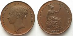 1858 England GREAT BRITAIN Penny 1858 w/o W VICTORIA copper about UNC!!! # 95220 AU