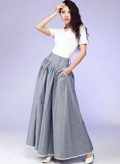 Items similar to Gray Maxi Skirt - Long Cotton skirt with Contrasting Piping & Hip Pockets - pleated skirt - Full skirt - 2016 spring skirt - Handmade on Etsy Grey Maxi Skirts, Cotton Maxi Skirts, Pleated Skirt, Dress Skirt, Gray Maxi, Linen Skirt, Mode Hijab, Skirts With Pockets, Modest Dresses