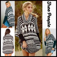 """FREE PEOPLE Tunic Poncho Pullover FREE PEOPLE Tunic Cowl Neck Poncho Sweater  New With Tags  ***Model photos retrieved from WWW.Lyst.com   * Super soft & cozy, stretch-to-fit textured fabric, loose knit.   * Approx 30.5""""long.   * Cowl neck & long dolman sleeves.   * Kangaroo front pockets, curved hem.  * Oversized poncho silhouette   Fabric: Cotton & Rayon Blend  Color: Black & White Striped   No Trades ✅ Bundle Discounts   ✅ ✅ Offers Considered*✅  *Please use the blue 'offer' button to…"""