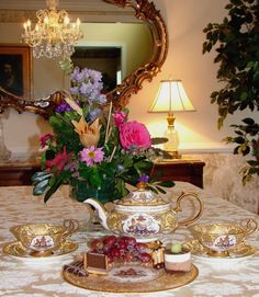Afternoon Tea using the Queen's Golden Jubilee Buckingham Palace China.