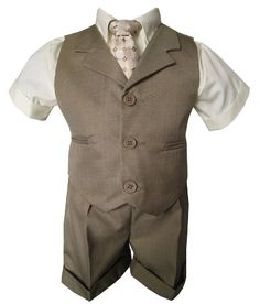 Amazon.com: New Baby and Toddler Boy Summer Suit Natural/beige Vest Short Set: Clothing