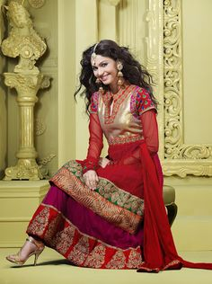Fancy Deep Plum & Crimson Salwar Kameez | StylishKart.com