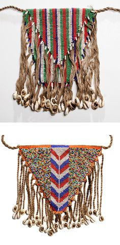 Africa | Armbags with neck cord from the Chad | Glass beads, cowrie shells and fibre | 20th century