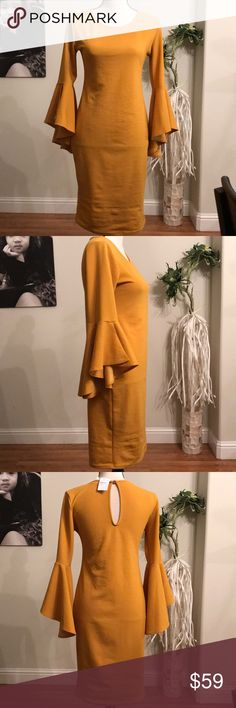 💕💕 Rare beauty! Mustard dress w/ peasant sleeve This dress is everything! Color of the year for 2018! Such a flattering cut. It is stretchy and hugs your curves. Beautiful sleeve design and the color is 🔥🔥🔥.  Too bad it's not my size but I'm sure one of my posh friends will snag this in no time! BLVD Dresses