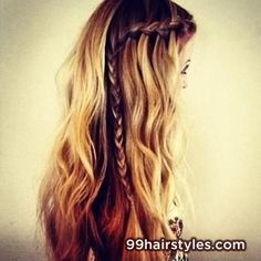 beautiful wavy curly hairstyle with braid - 99 Hairstyles Ideas