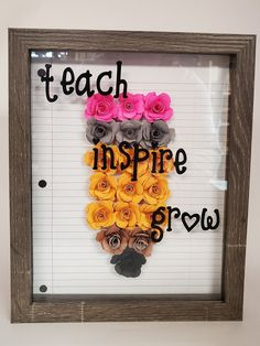 Flower Shadow Box, Diy Shadow Box, Shadow Box Frames, Teacher Appreciation Gifts, Teacher Gifts, Diy Gifts For Teachers, Cricut Craft Room, Cricut Creations, Craft Gifts