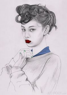 Jenny Mörtsell | Week 1/Eduardo | Stockholm, Sweden | NYLON JAPAN | Graphite pencils + Photoshop | The image has interesting line quality for its hair, careful placements of shading and beautiful pop of colours.