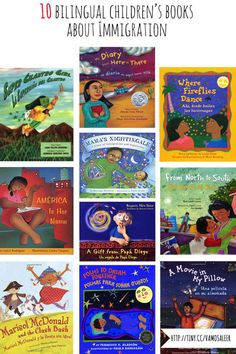 """For this month's booklist I've compiled a """"Reading Roundup"""" of 10 recommended bilingual books that look at the subject of Latin America/US immigration through the eyes of children. Dual Language Classroom, Bilingual Classroom, Bilingual Education, Multicultural Classroom, Teaching Spanish, Elementary Spanish, Learn Spanish, Spanish Class, Spanish Lessons"""