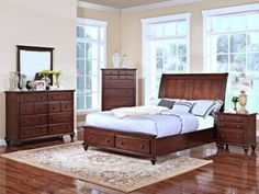 Spring Creek Tobacco bedroom - creates extra storage options with the two drawers in the footboard. | MFG Furniture & Mattress